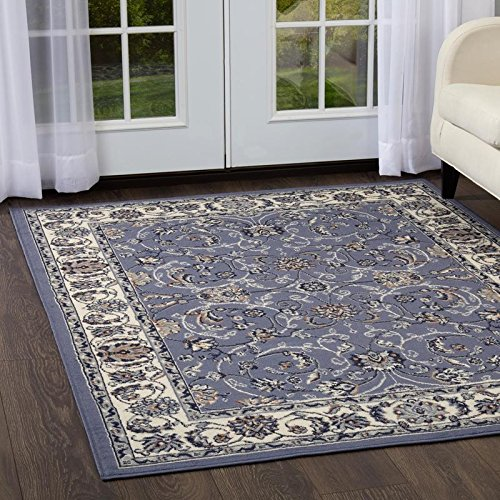 Home Dynamix Traditional Style Area Rug | Premium Collection HD812-327 | Beautiful Design in Gray and Ivory | Indoor Polypropylene Rug | Style on a Budget