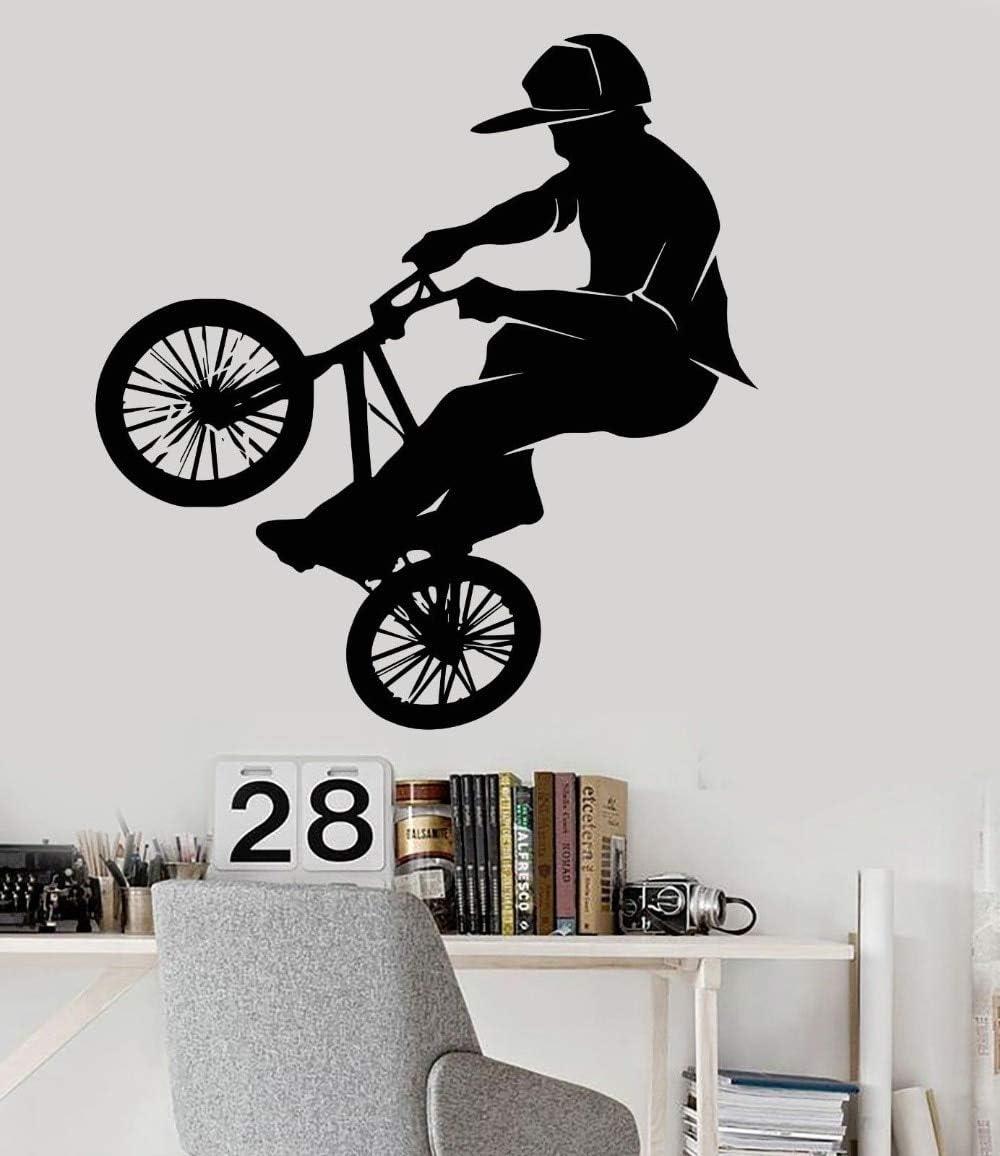Ajcwhml Bicicleta BMX Deportes Extremos Vinilo PVC Pegatinas de Pared Arte Mural Tatuajes de Pared Dormitorio decoración para el hogar F 57X60CM: Amazon.es: Hogar