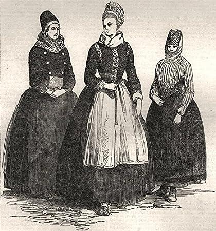 Funen Island Disfraces Confirmación vestidos de novia Pescador Limpiador Dinamarca – 1851 – Antiguo estampado –