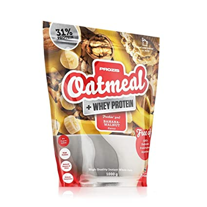 Prozis Oatmeal + Whey - Harina de avena y proteína whey 1000 g Plátano con nueces