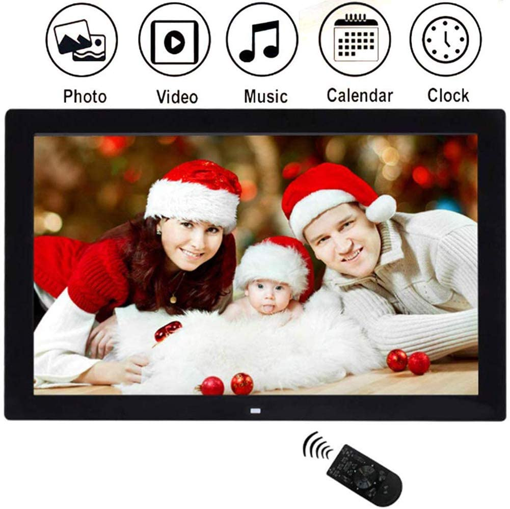Electronic Photo Frames 15 inch LED 1024 /× 768 High Resolution IPS Display Photo//MP3// MP4// E-Book//Clock//Calendar Funtion,Support USB Disk//SD//MMC//MS Card with Remote Control,Black