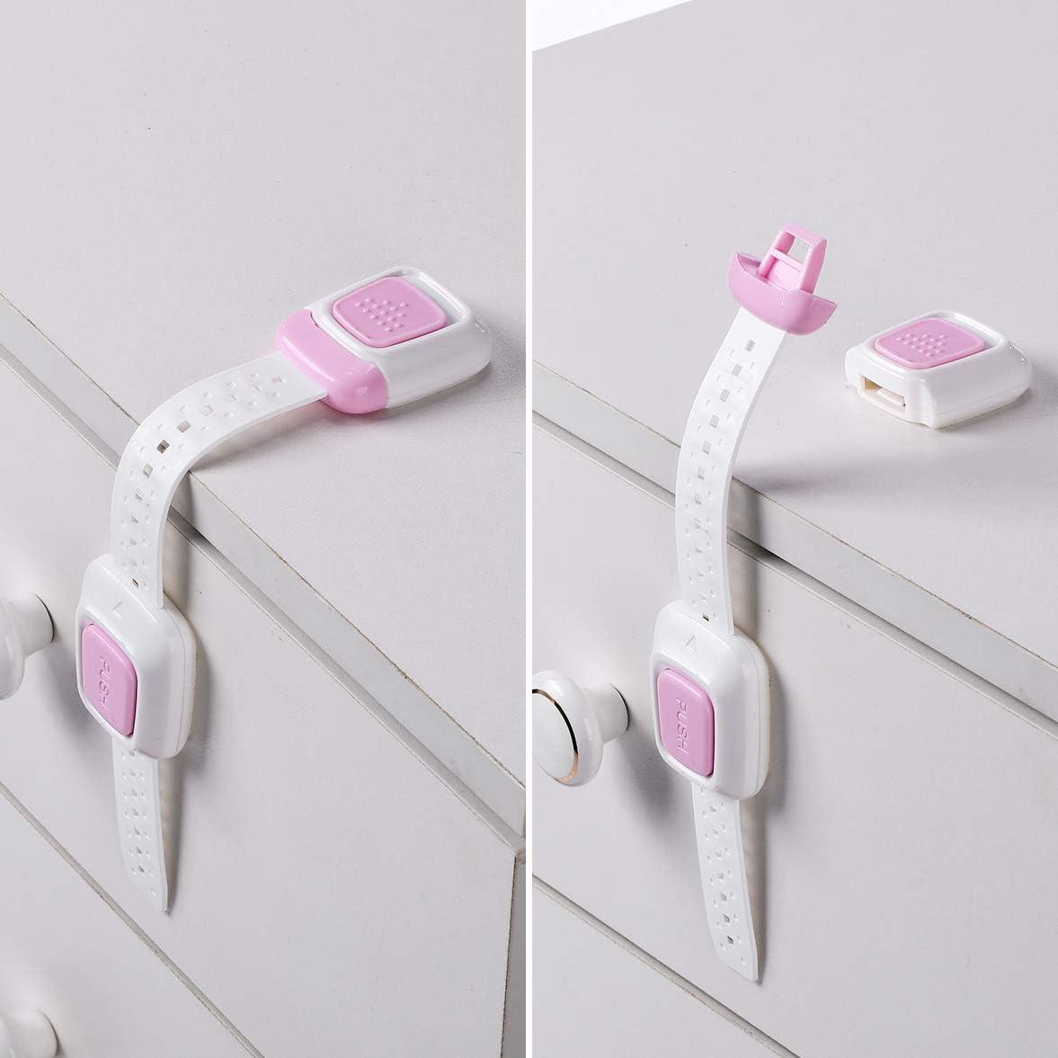 placards ou tiroirs Kit de 4 Rose Adh/ésion ultra-forte Souple /& Longueur r/églable S/écurit/é pour b/éb/é Bloque-armoires