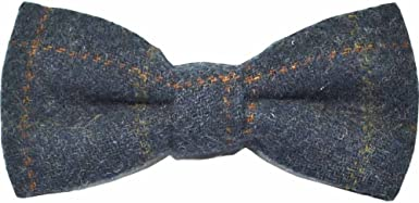 Country Bow Tie Boys Heritage Check Navy Blue Bow Tie Tweed