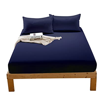King Size Fitted Bottom Sheet Deep Pocket Double Brushed Microfiber Fitted Bed  Sheet Only, Hypoallergenic