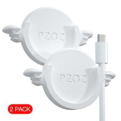 pzoz Phone Car Mount Compatible for Collapsible Grip Socket, 2 Pack Adhesive Silicone Stand for Mount Charging Cable Holder Wire Clip Cord Organizer for Car, Office, Kitchen, Wall (White)