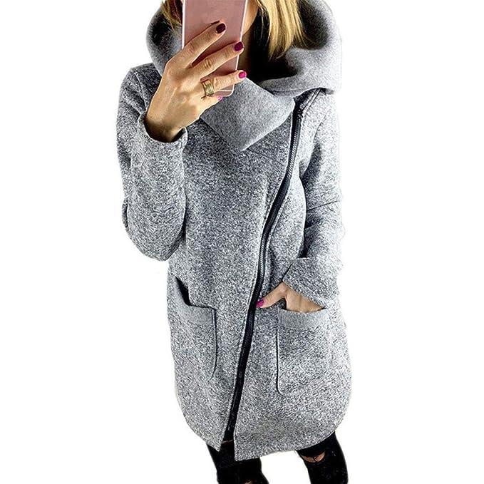 59f71ea315 BAINASIQI Felpa con Cappuccio da Donna Inverno Elegante Chiusura a cerniera  asimmetrica manica lunga Felpa Giacca Casual Cappotto Maglione