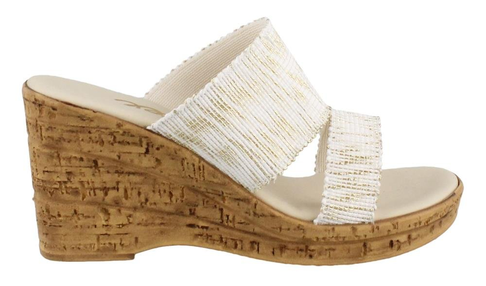 Onex Women's, Natali High Heel Sandals White Gray Bronze 8 M