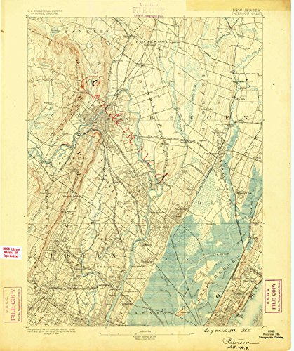 Paterson NJ topo map, 1:62500 scale, 15 X 15 Minute, Historical, 1888, updated 1888, 19.9 x 16.6 IN - - Nj Paramus Park