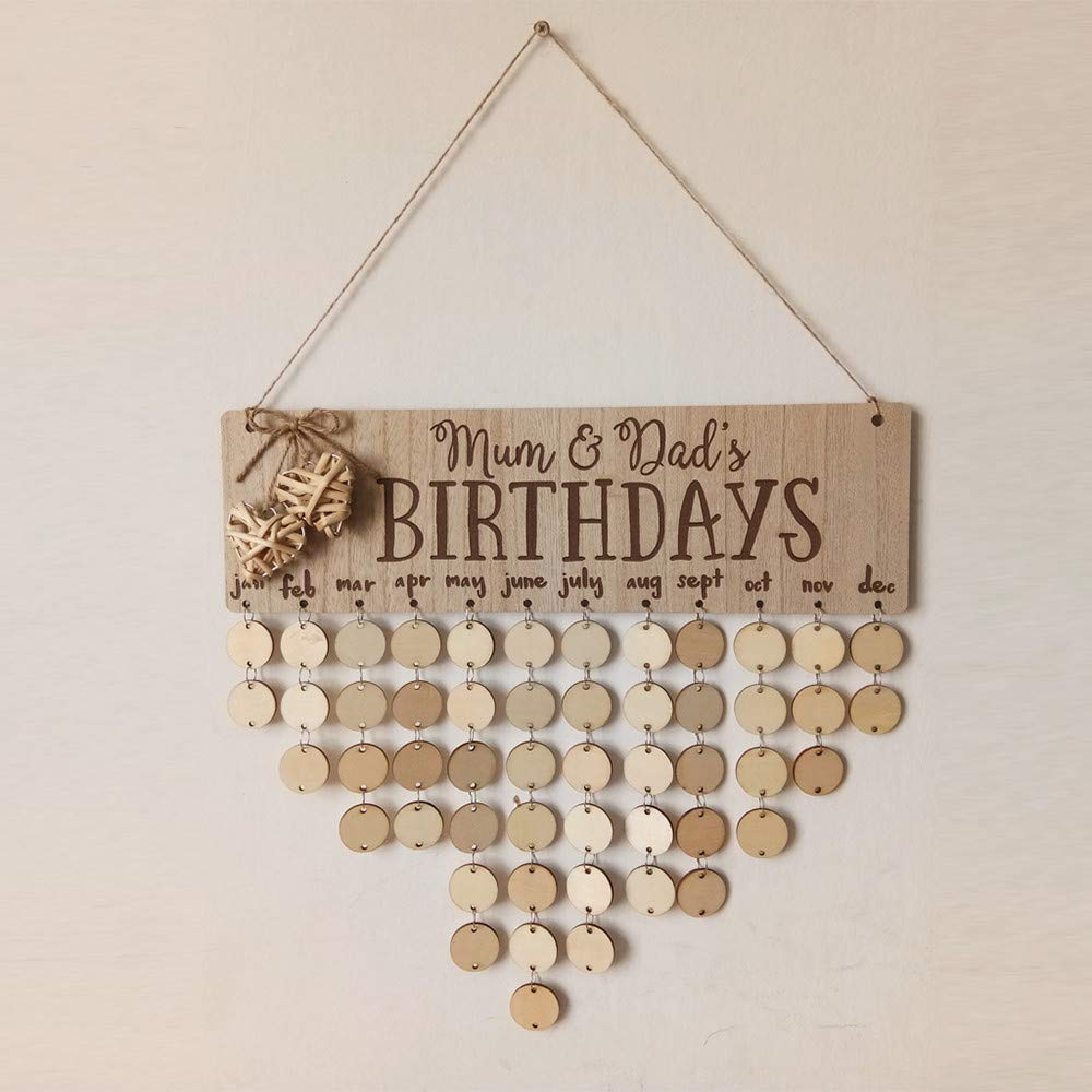 LtrottedJ- Placa de madera para recordatorio de cumpleaños, diseño ...