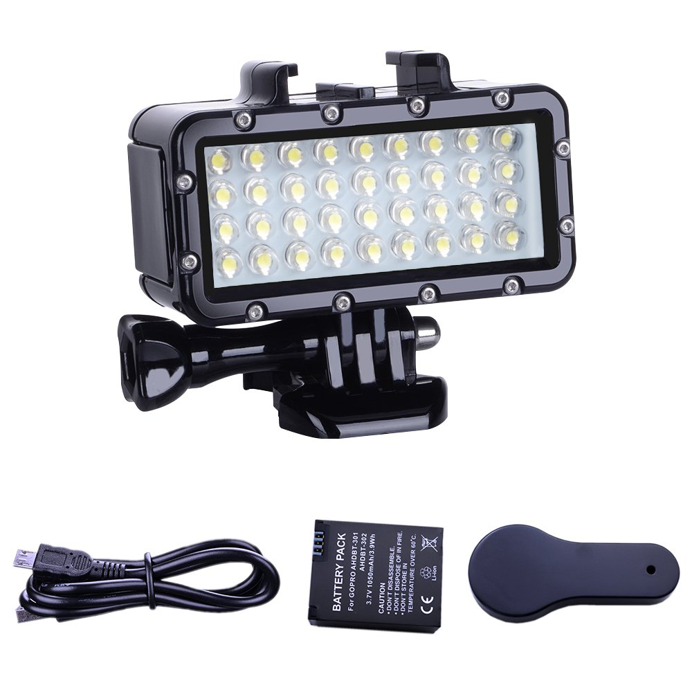 Suptig Diving Light High Power Dimmable Waterproof LED Video Light Fill Night Light Diving Underwater Light Waterproof 147ft(45m) for Gopro Hero 6/5/5S/4/4S/3+/2/SJCAM/YI Action Cameras by Suptig