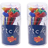 MXY Colorful Food & Fruit Picks for Bento Box Cake Snack Forks Resuable Cute Design Hippo Fish Crab Turtle Starfish Set of 20pcs Pack of 2 Round Boxes