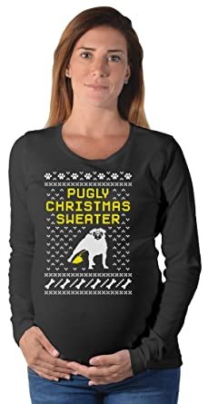 tstars pugly christmas sweater pug ugly christmas sweater maternity long sleeve shirt small black - Maternity Ugly Christmas Sweater