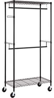 finnhomy heavy duty rolling garment rack clothes hangers with double rods and shelves black thicken