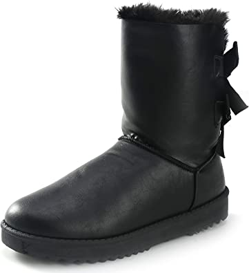 Ladies Womens Winter Bow Fur Snow Boots Walking Casual Warm Mid Calf Shoes Sizes