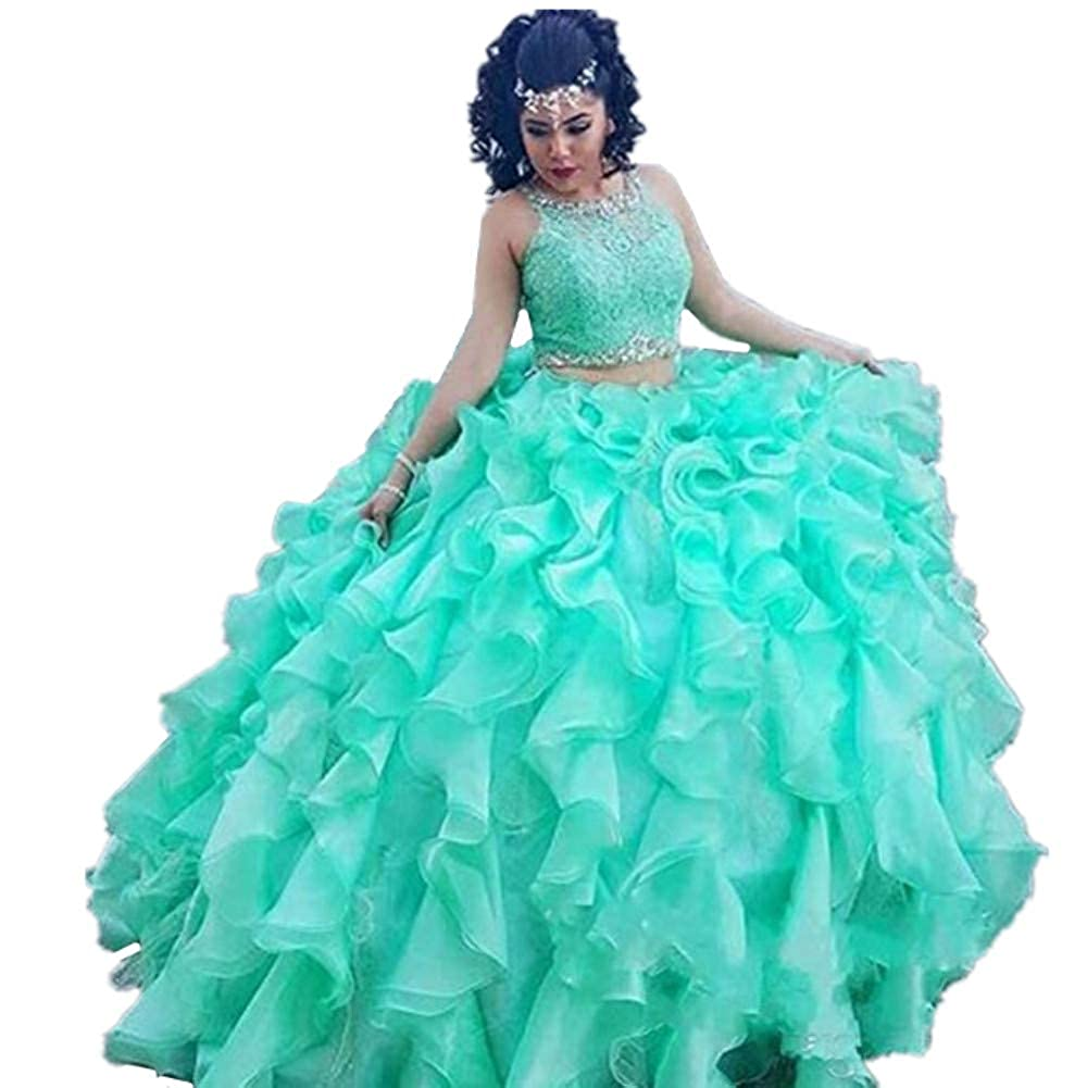 Formaldresses Ball Gown Mint Green Quinceanera Dress 2 Piece Plus ...