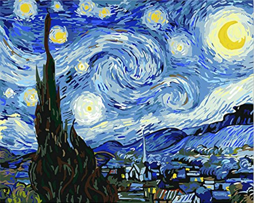 Paint by Numbers, Paint by Number DIY Oil Painting Canvas Set with Brush and Acrylic Paint, Paint by Numbers for Kids, Adults and Beginners, 16x20 [Van Gogh Vango Go Starry Night-KP001]