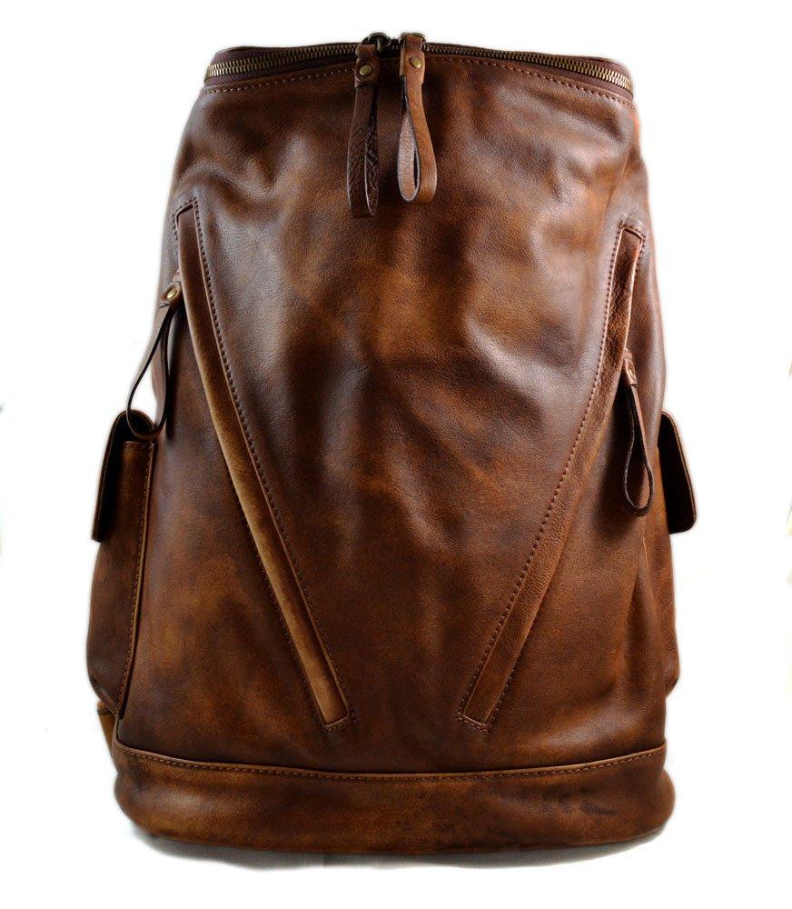 Vintage leather backpack brown genuine washed leather travel bag weekender sports bag gym bag leather shoulder ladies mens backpack