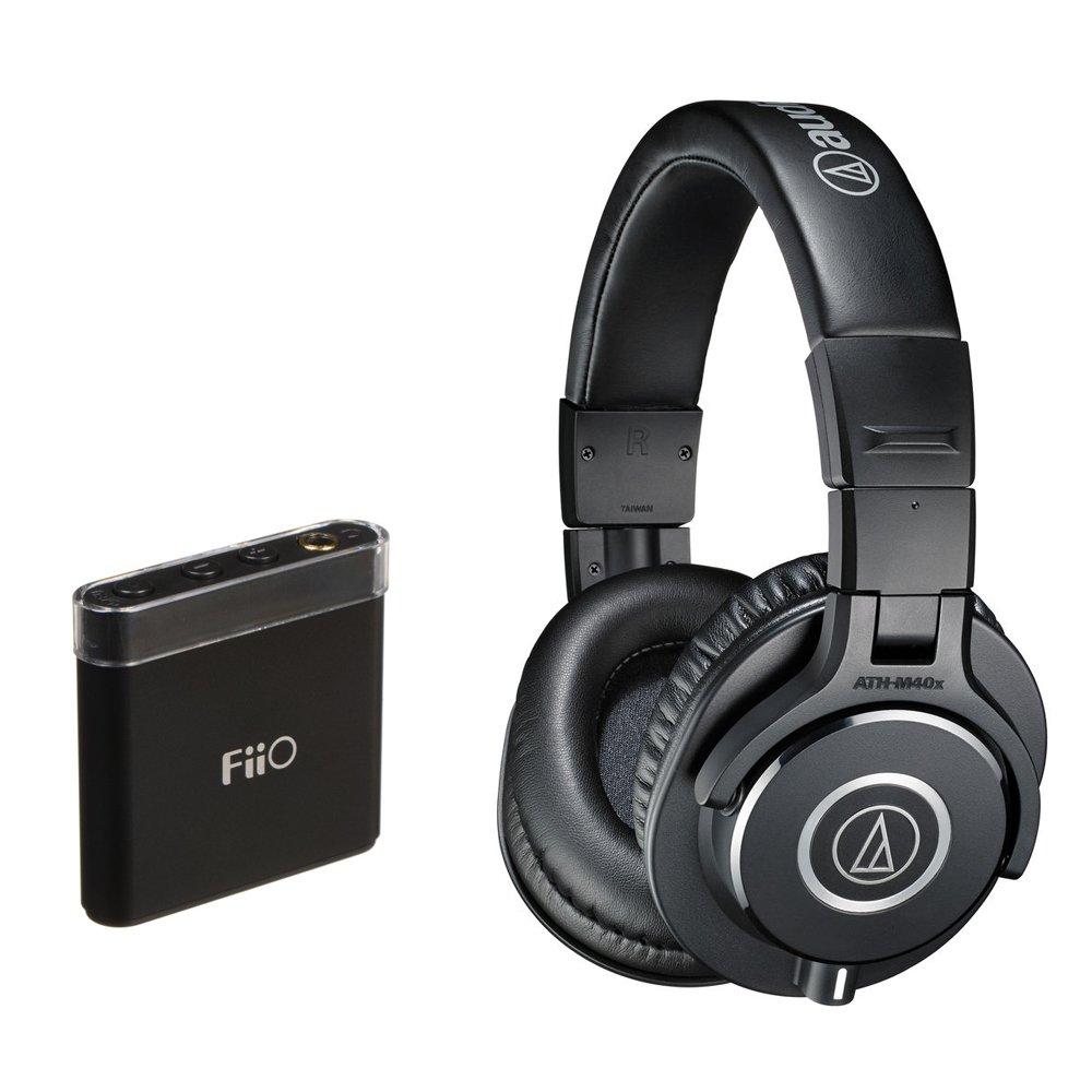 Audio-Technica ATH-M40x Monitor Headphones (Black) with FiiO A1 Portable Amp