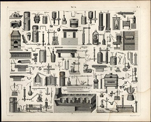 Chemistry laboratory vessels assortment glass 1850s fine antique engraved print