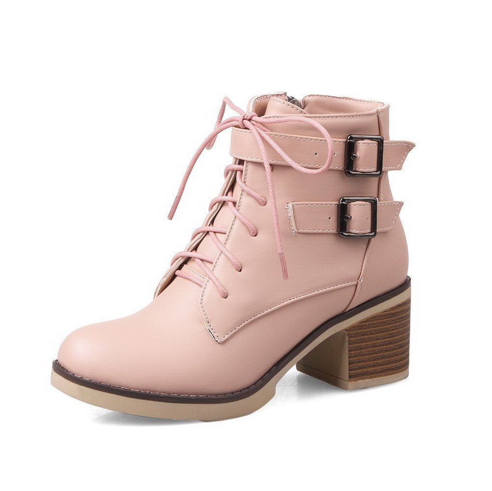 WeenFashion Women's Solid Kitten-Heels Round Closed Toe PU Zipper Boots, Pink, 42 by WeenFashion