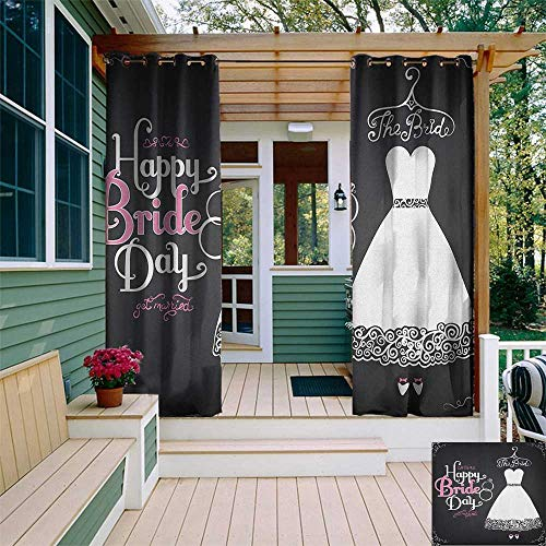 leinuoyi Bridal Shower, Outdoor Curtain Kit, Happy Bride Day Quote Wedding Dress Swirls Celebration Art Print, Outdoor Curtain for Patio Waterproof W72 x L96 Inch Black White and Pink