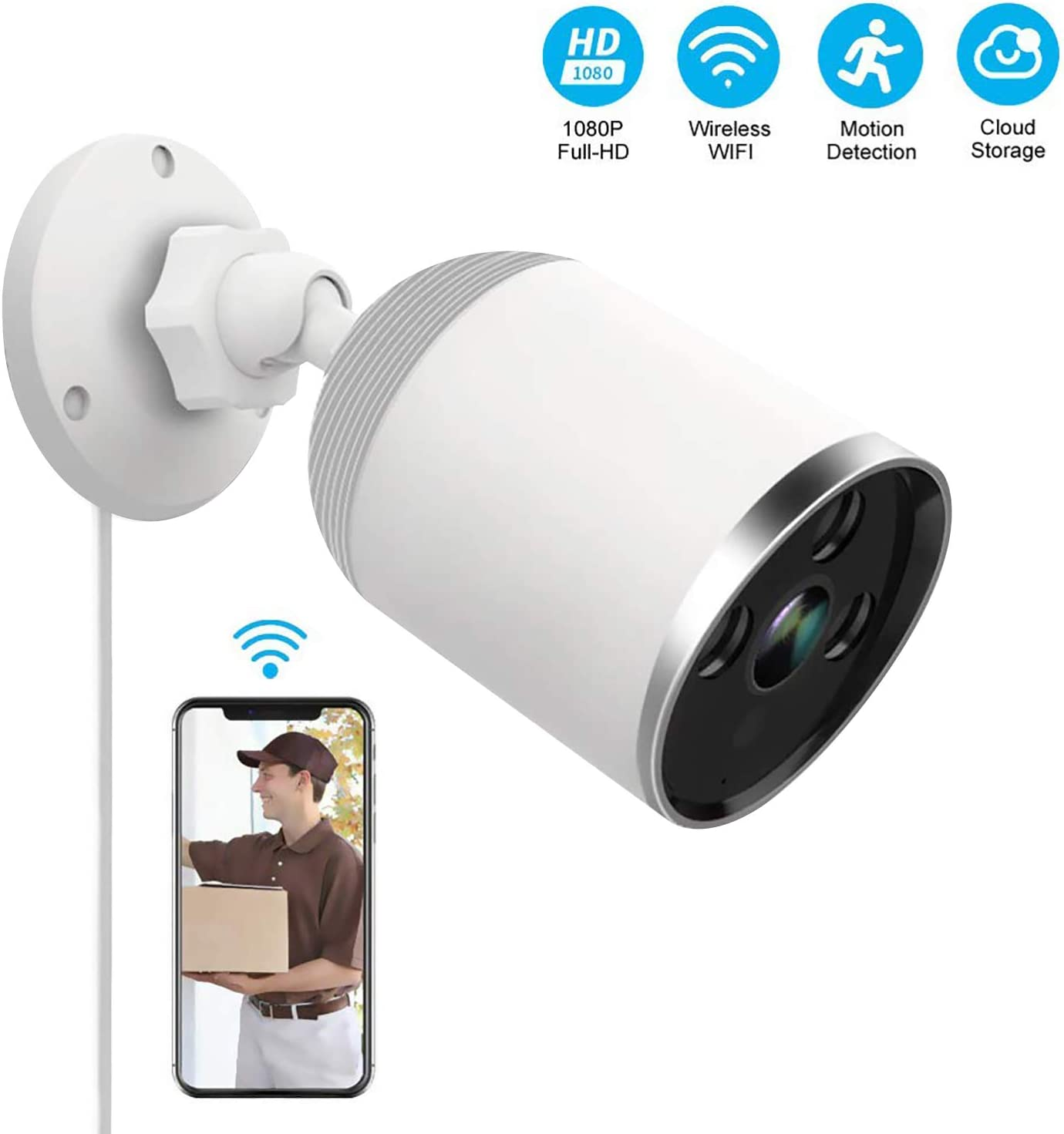 Outdoor and Indoor Home Security Camera, 1080P 2.4G WiFi Night Vision Security Cameras with Two-Way Audio,Cloud Storage, IP66 Waterproof, Motion Detection, Activity Alert, Deterrent Alarm