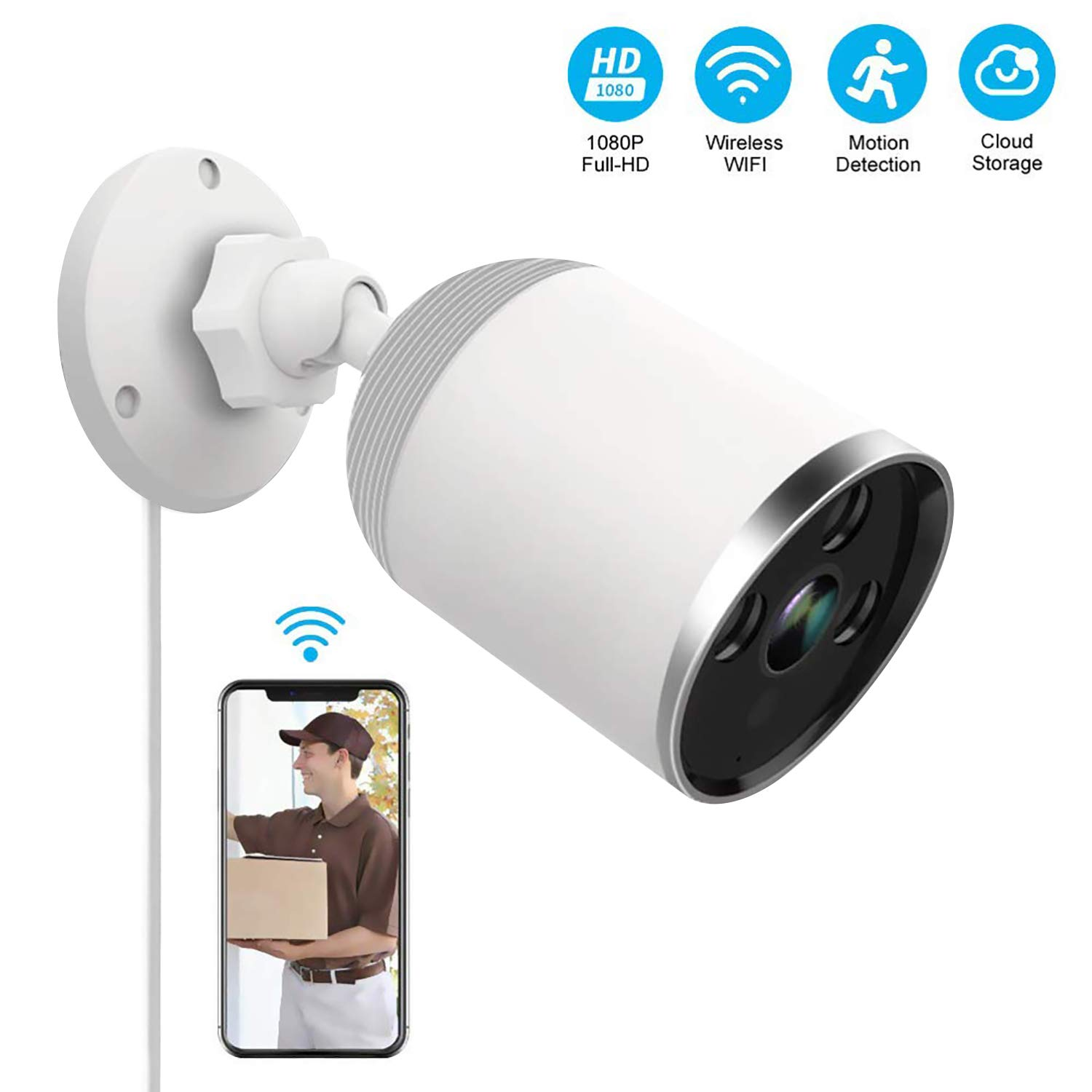 Outdoor and Indoor Home Security Camera, 1080P 2.4G WiFi Night Vision Security Cameras with Two-Way Audio,Cloud Storage, IP66 Waterproof, Motion Detection, Activity Alert, Deterrent Alarm by GH DYNAMICS