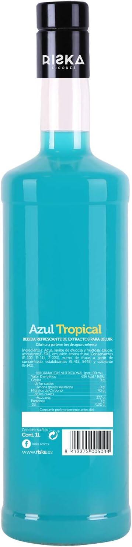 RISKA - Azul Tropical Licor Sin Alcohol 1 Litro: Amazon.es ...