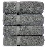 Luxury Hotel & Spa Bath Towel 100% Genuine Turkish Cotton, Set of 4 (Gray)