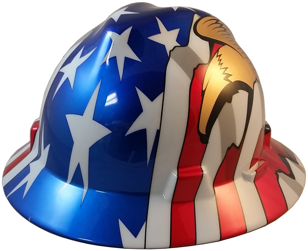 MSA Full Brim Flag Patriotic Hard Hat with USA Flag and 2 Eagles - 1 Touch Suspension