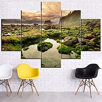 Landscape Pictures for Walls Paintings 5 Panel Canvas Wall Art Olympic National Park Wall Decor Framed Home Decor for Living Room Giclee Modern Artwork Gallery-wrapped Ready to Hang(60''Wx40''H)