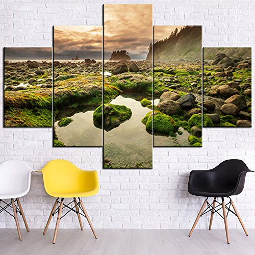 (Landscape Pictures for Walls Paintings 5 Panel Canvas Wall Art Olympic National Park Wall Decor Framed Home Decor for Living Room Giclee Modern Artwork Gallery-wrapped Ready to Hang(60''Wx40''H) )