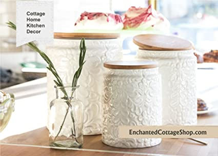 Amazon.com: French Country Cottage Ceramic Canister Set of 3 ...