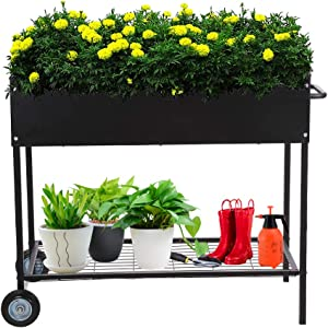 Taleco Gear Raised Garden Bed, Metal Raised Planter Box with Legs on Wheels Elevated Garden Bed for Vegetables Flower Herb Outdoor