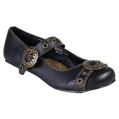 bdc5c9b89e0 Summitfashions Black Mary Jane Ballet Flats Steampunk Gothic Style Buckles  Size  6