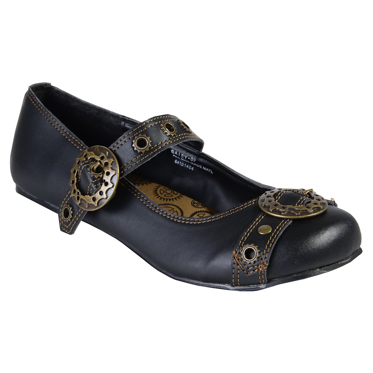 Summitfashions Black Mary Jane Ballet Flats Steampunk Gothic Style Buckles Size: 8