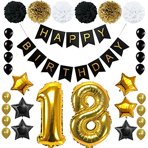 - Happy 18th Birthday Banner Ballons Set for 18 Years Old Birthday Party Decoration Supplies Gold Black