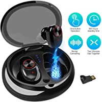 JUHANG Wireless Earbuds Bluetooth 5.0 Headphones Wireless Headset Earphone with 500mAh Charging Box, 3D Stereo Sound, Built in Microphone & Dual Speakers for Phone Calls (Black1)
