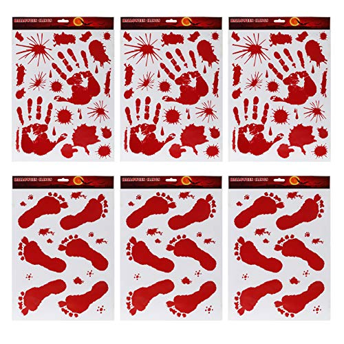 Kesoto Halloween Bloody Handprint Footprint Wall Sticker Halloween Zombie Hands Window Clings Vampire Zombie Party Decoration Spooktacular Creations- Pack of 6]()