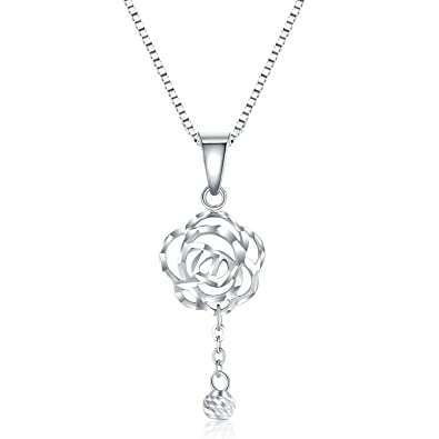 Mabelle Collier Pendentif Puff Perle En Filigrane Rose Fleur Or