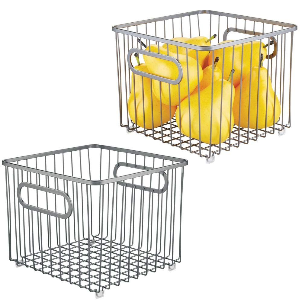 mDesign Metal Farmhouse Kitchen Pantry Food Storage Organizer Basket Bin - Wire Grid Design for Cabinet, Cupboard, Shelf, Countertop, Holds Potatoes, Onions, Fruit - Square, 2 Pack - Graphite Gray