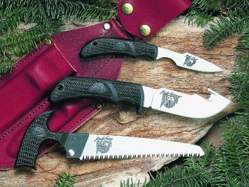Outdoor Edge Kodi-Pak  KP-1 Caper Gut-Hook Skinner Saw Combo with Leather Belt Sheath, Outdoor Stuffs