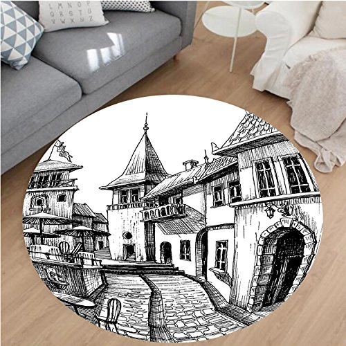 nel Microfiber Non-Slip Machine Washable Round Area Rug-Old Peaceful City Drawing Restaurant Terrace Sketch Downtown Lifestyle Scene Black White area rugs Home Decor-Round 40