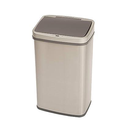 Homra - Cubo de basura de 50 litros, de acero inoxidable de alta calidad -