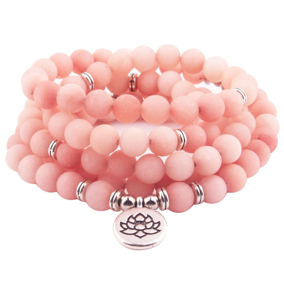 GVUSMIL 8mm Mala Amazonite 108 Beads Necklace for Yoga Buddhist Rosary Prayer Charm Bracelet made by Natural Gemstone Agate Jade for Women Men (Pink opal)