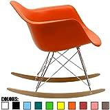 2xhome Orange Mid Century Modern Molded Shell Designer Plastic Rocking Chair Chairs Armchair Arm Chair Patio Lounge Garden Nursery Living Room Rocker Replica Decor Furniture DSW Chrome