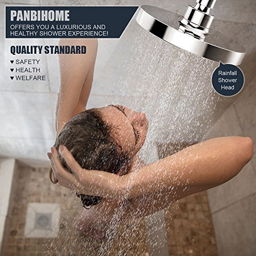 "Shower Head, 6"" High Pressure Rainfall Fixed Showerhead with Removable Water Restrictor, Luxury Replacement for Bathroom Showerhead (Chrome) by Panbihome (Image #5)"