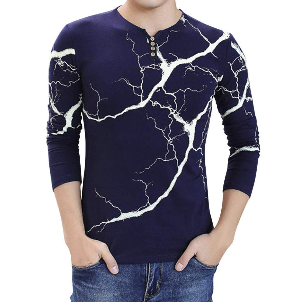 37db8eb53266 Top8: vermers Mens Clothing Clearance Sale - Fashion Men's Lightning Printed  Tops Casual Long Sleeve T Shirt Button Blouse