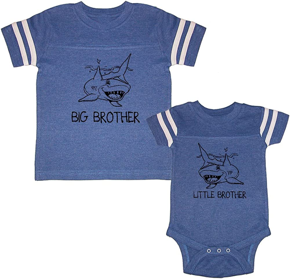 We Match! Big Brother Great White Shark & Little Brother Great White Shark Matching Football Kids T-Shirt & Bodysuit Set