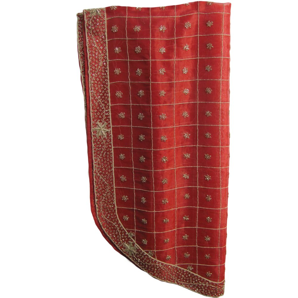 Decorative Exotic Indian Home Decor Zardoshi Embroidered Floral Oval Shaped Red Tablecloth